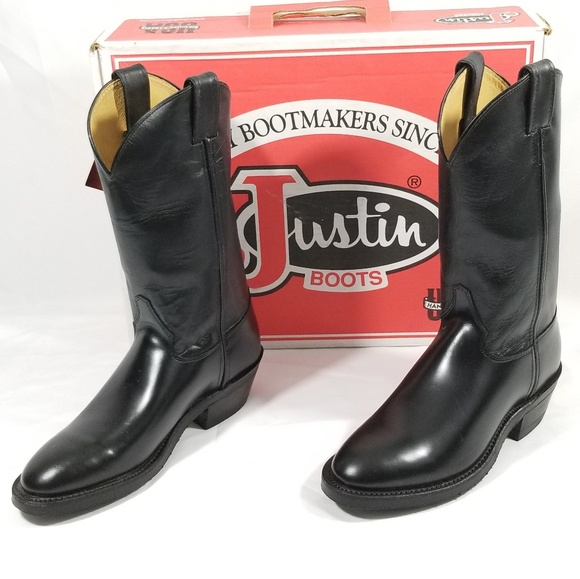 34ef7acd6d38f *New* Men's Justin Boots sz 7.5D Black Leather NWT